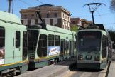 Rome low-floor articulated tram 9026 on tram line 19 at the terminus Piazza Risorgimento (2010).