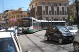 Rome low-floor articulated tram 9105 on tram line 19 at the terminus Piazza Risorgimento (2010).