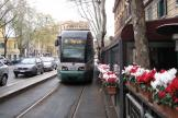 Rome low-floor articulated tram 9108 on tram line 19 on Via Gioachino Rossini (2010).
