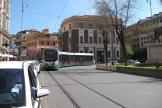 Rome low-floor articulated tram 9127 on tram line 19 at the terminus Piazza Risorgimento (2010).