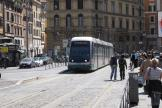 Rome low-floor articulated tram 9204 on tram line 8 the old terminus Torre Argentina (2010).