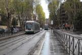 Rome low-floor articulated tram 9231 on tram line 8 at the stop Trastevere (Mastai) (2010).