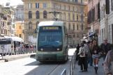 Rome low-floor articulated tram 9235 on tram line 8 the old terminus Torre Argentina (2010).