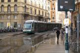 Rome low-floor articulated tram 9244 on tram line 8 the old terminus Torre Argentina (2010).