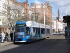Rostock low-floor articulated tram 652 on extra line 2 at the stop Lange Straße (2015)