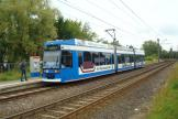 Rostock low-floor articulated tram 659 on extra line 2 at the terminus Kurt-Schumacher-Ring (2015)