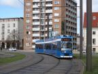 Rostock low-floor articulated tram 689 on extra line 2 in the square Neuer Markt (2015)