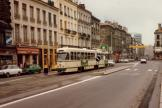 Saint-Étienne articulated tram 554 on tram line T1 in the square Place Carnot (1981)