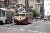 San Francisco railcar 1007 on tourist line F-Market & Wharves in the intersection Market Street/Fremont Street (2010)