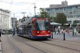 Sheffield low-floor articulated tram 124 on Castle Square (2011)