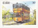 Stamp: Howth railcar 10 on tram line at the stop Gaily Post Office (1987)