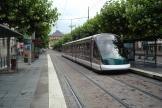 Strasbourg low-floor articulated tram 1015 on tram line C at the stop Place Broglie (2008)