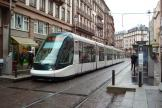 Strasbourg low-floor articulated tram 2037 on tram line A at the stop Langstross/Grand'Rue (2008).