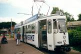 Stuttgart articulated tram 160 on Halberstadt tram line 2 at the terminus Sargstedter Weg (2001).