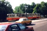 Tallinn articulated tram 104 on tram line 4 on Viru väljak (1992).