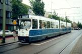 The Hague articulated tram 3147 on tram line 1 at the stop Delft Station (2002)