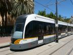 Valencia low-floor articulated tram 4206 on tram line 8 at the stop Grau-Canyamelar (2014)