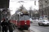 Vienna articulated tram 4012 on tram line D at the stop Burgring (2013).