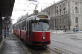 Vienna articulated tram 4014 on tram line D at the stop Burgring (2013).