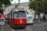 Vienna articulated tram 4083 on tram line 1 at the stop Doktor-Karl-Renner-Ring (2014).