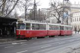 Vienna articulated tram 4301 on tram line D at the stop Dr. Karl Renner Ring (2013).