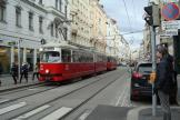 Vienna articulated tram 4560 on tram line 2 at the stop Albertgasse (2014).