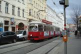 Vienna articulated tram 4744 on extra line 33 at the stop Laudongasse (2014).