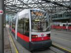 Vienna low-floor articulated tram 12 on tram line O at the terminus Praterstern (2016)