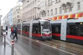 Vienna low-floor articulated tram 30 on tram line 44 at the stop Skodagasse (2013).