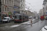 Vienna low-floor articulated tram 31 at the stop Lange Gasse (2013).