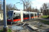 Vienna low-floor articulated tram 3 on tram line 1 at the terminus Prater Haupallee (2010).