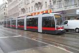 Vienna low-floor articulated tram 763 on tram line 43 at the stop Skodagasse (2013).