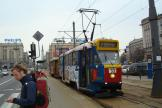 Warsaw railcar 808 on tram line 33 at the stop Plac Konstytucji (2011).
