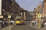 Würzburg articulated tram 271 on tram line 4 at the stop DOM (1986)