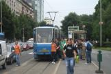 Zagreb articulated tram 320 on extra line 3 at the stop Savska cesta (2008).