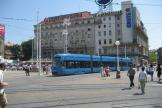 Zagreb low-floor articulated tram 2222 on tram line 17 in the square Trg bana Josipa Jelačića (2008).