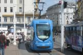 Zagreb low-floor articulated tram 2237 on tram line 17 in the square Trg bana Josipa Jelačića (2008).