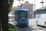 Zagreb low-floor articulated tram 2239 on tram line 6 in the square Trg kralja Tomislava (2008).
