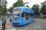 Zagreb low-floor articulated tram 2266 on tram line 12 on Tratinska ulica (2008).