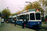 Zürich articulated tram 2110 on tram line 6 at the terminus ZOO (2005).