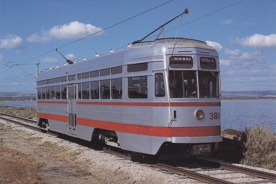 Adelaide railcar 381 on museum line at the museum Adelaide Tram Museum at St. Kilda (1995).