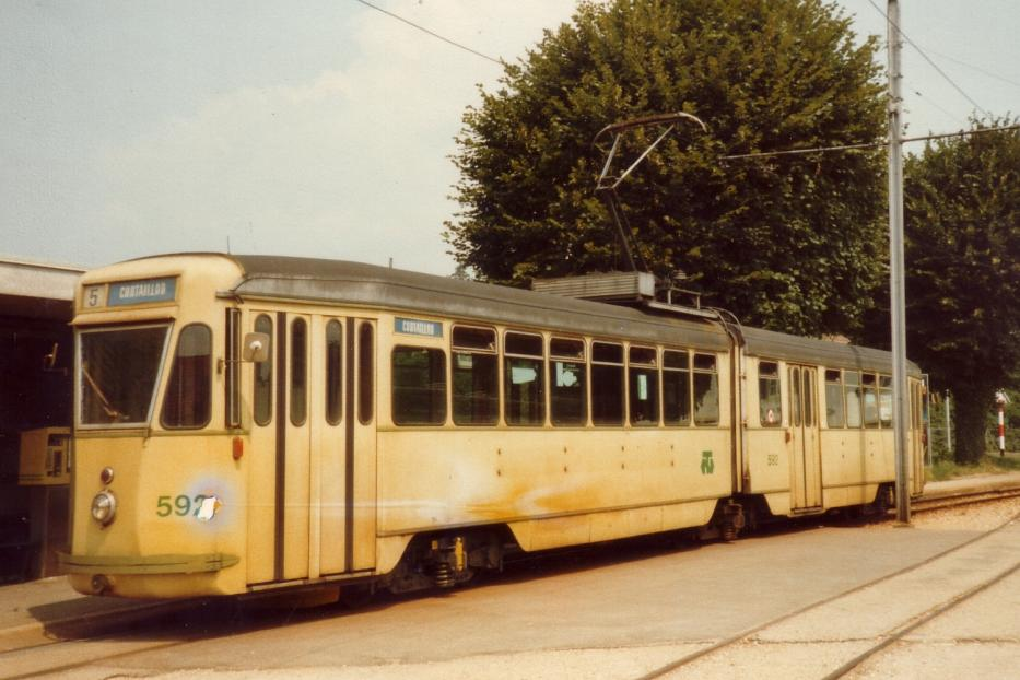 """Genoa articulated tram 592 on Neuchâtel regional line 215 the old terminus Cortaillod (1982). In 2006, there were Cortailled only café """"Buffet d'un Tram"""" with its trams."""