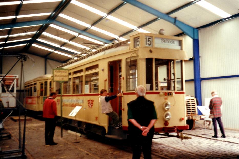 Hannover railcar 181 at the museum Hannoversches Straßenbahn-Museum (2000).