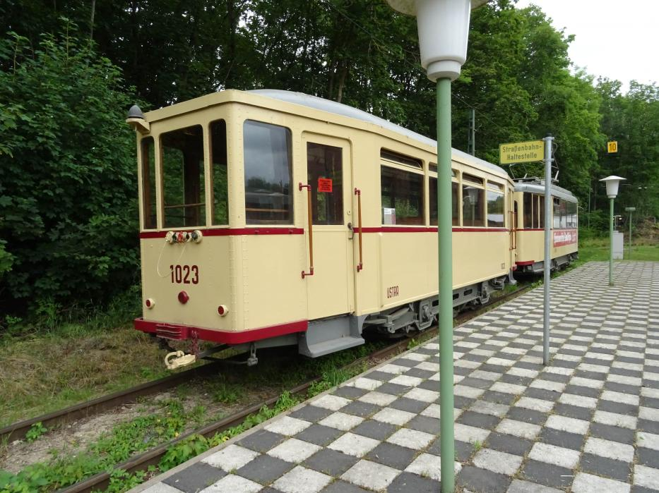Hannover sidecar 1023 at the terminus Hannoversches Straßenbahn-Museum (2020).