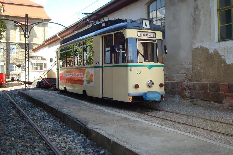 Jena railcar 50 at the depot Naumburger Straßenbahn (Heinrich-von-Stephan-Platz) (2014).
