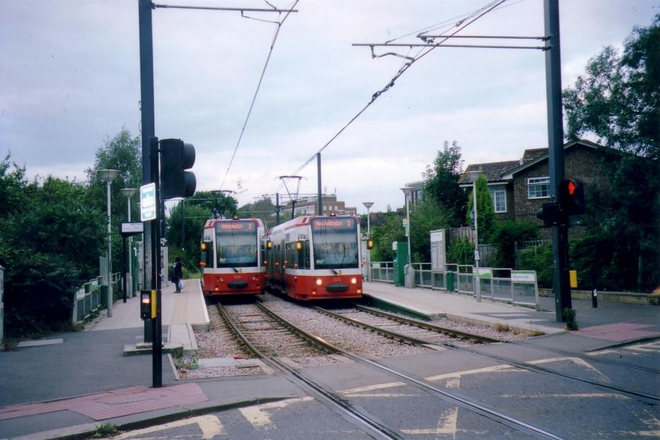 London low-floor articulated tram 2541 on tram line 3 at the stop Dundonald Road, Wimbledon (2006).