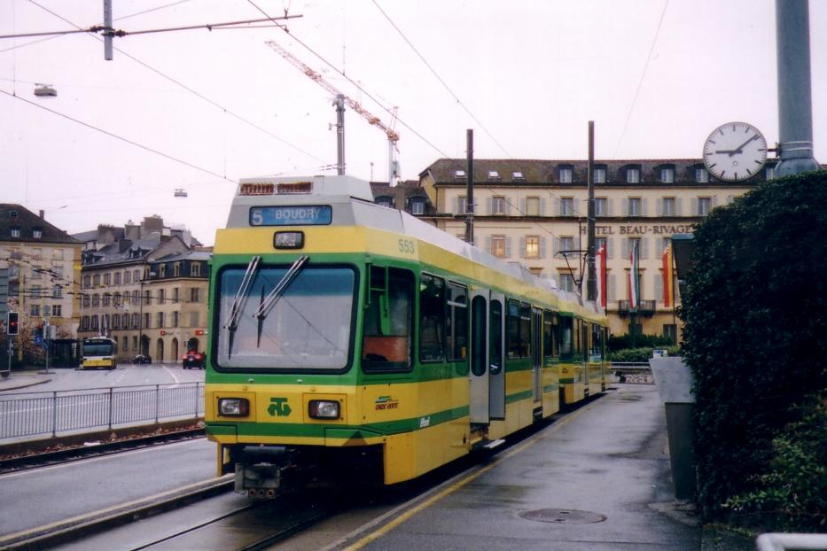 Neuchâtel sidecar 553 on regional line 215 at the terminus Place Pury (2006).