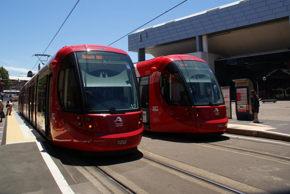 Sydney low-floor articulated tram 2112 on light rail line L1 (Dulwich Hill Line) at the stop Paddy's Markets (2014).