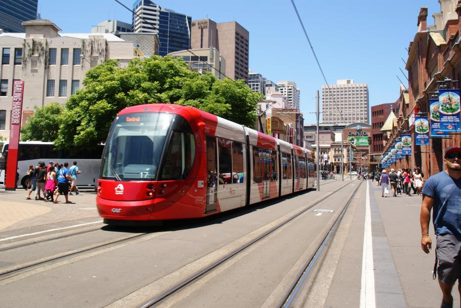 Sydney low-floor articulated tram 2117 on light rail line L1 (Dulwich Hill Line) on Hay Street, Darling Harbour (2014).